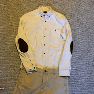 J. Crew Shirts - J Crew grey super soft flannel reinforced elbows M